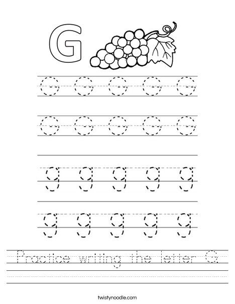 Practice writing the letter G Worksheet - Twisty Noodle ...