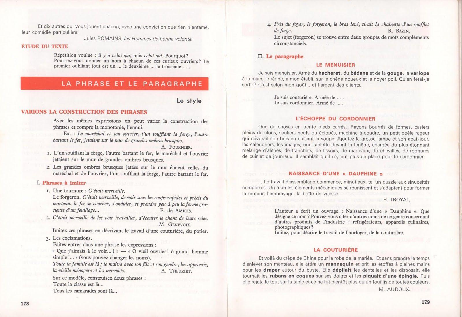 Mongin Le Francais En 7e Cm2 1968 Cm2 France Enseignement Du Francais