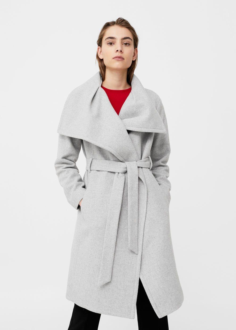 Manteau laine maxi revers - f pouManteaux Femme   MANGO France ef317cbdd2b