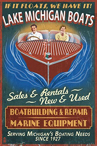 Lake Michigan, Michigan - Boat Shop Vintage Sign (9x12 Art Print, Wall Decor Travel Poster) Lantern Press http://www.amazon.com/dp/B00N5CPUWS/ref=cm_sw_r_pi_dp_OOLfxb1735V9H