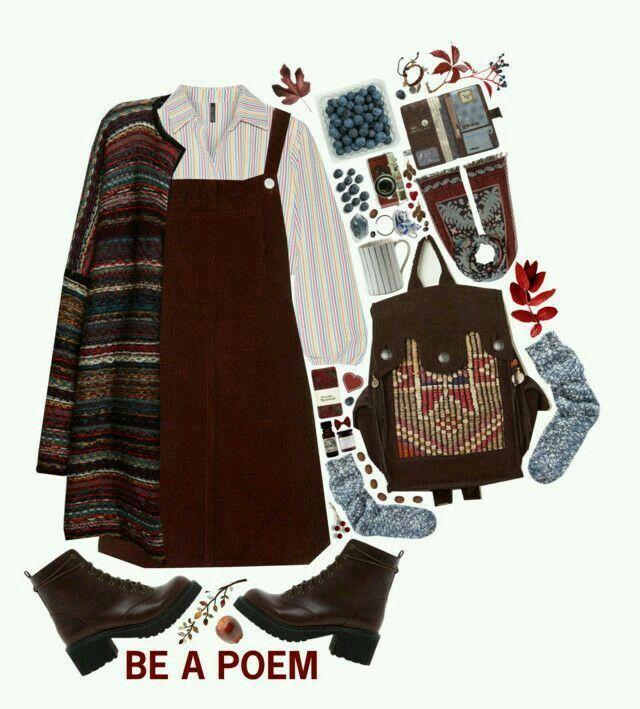 Photo of # vestito bib #layers # calzini lana # cardigan # colori scuri