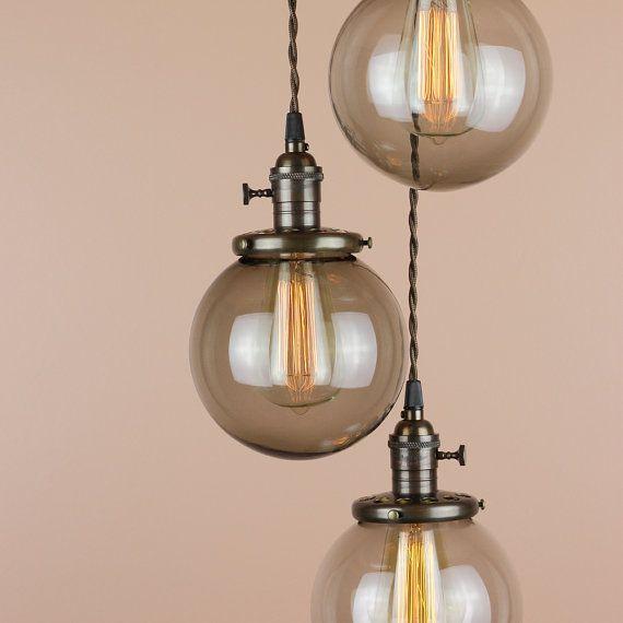 Chandelier Lighting - Pendant Lights Grey Smoke Glass Globes ...