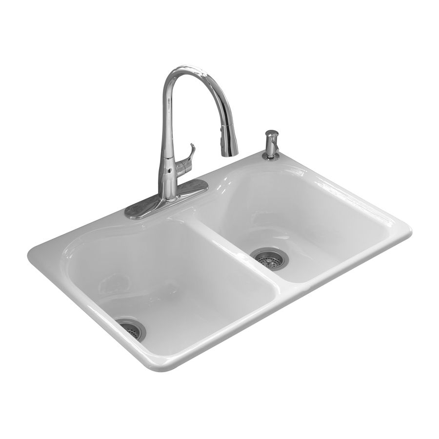 Shop Kohler Hartland Double Basin Drop In Enameled Cast Iron