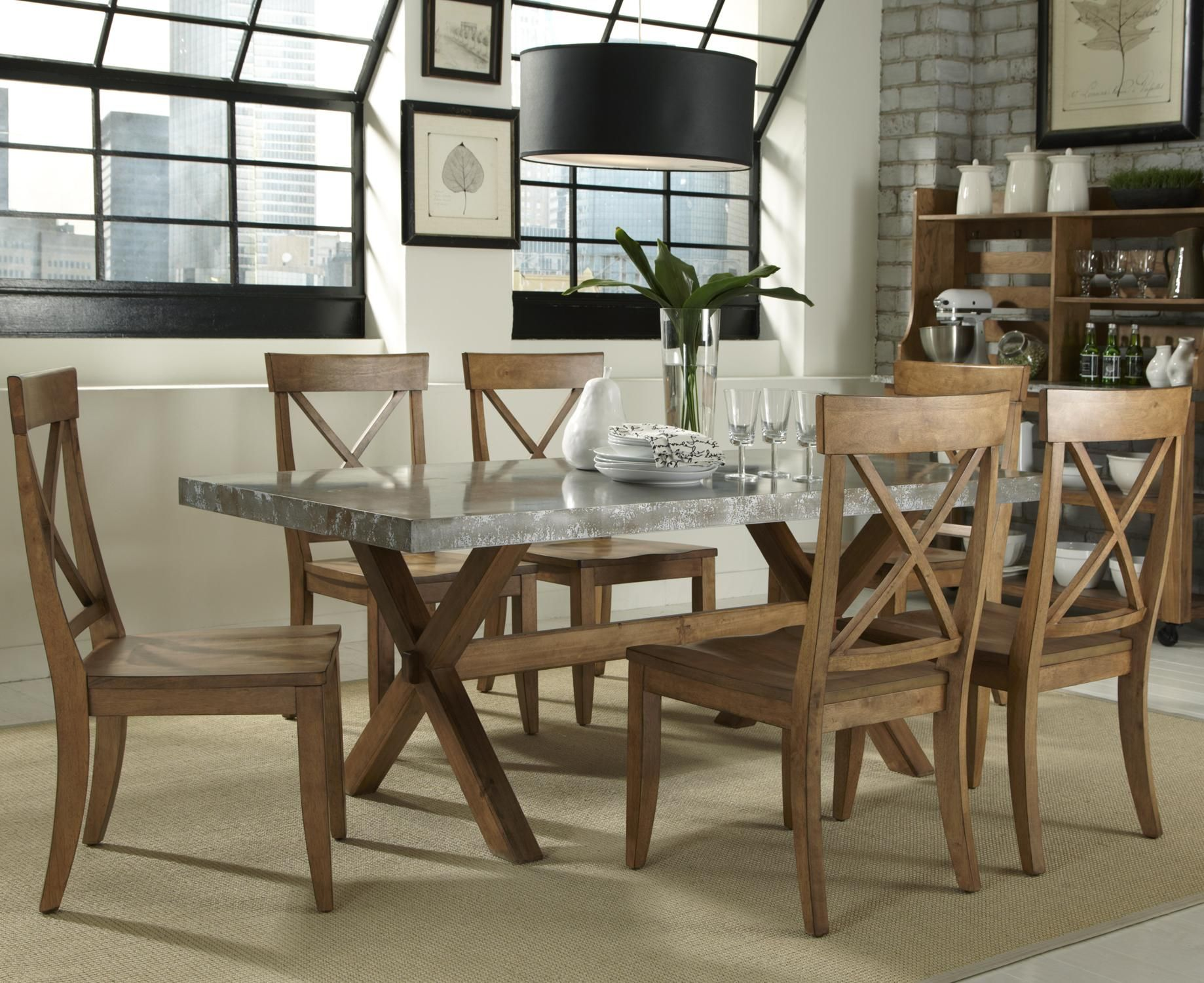 Keaton 7 Piece Trestle Table Setliberty Furniture  Dining Best End Chairs For Dining Room Inspiration Design