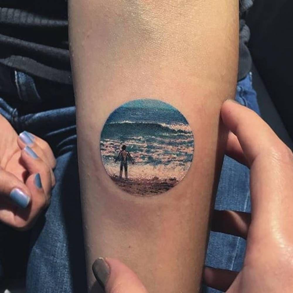 beach landscape tattoo on the inner forearm tattoo artist eva