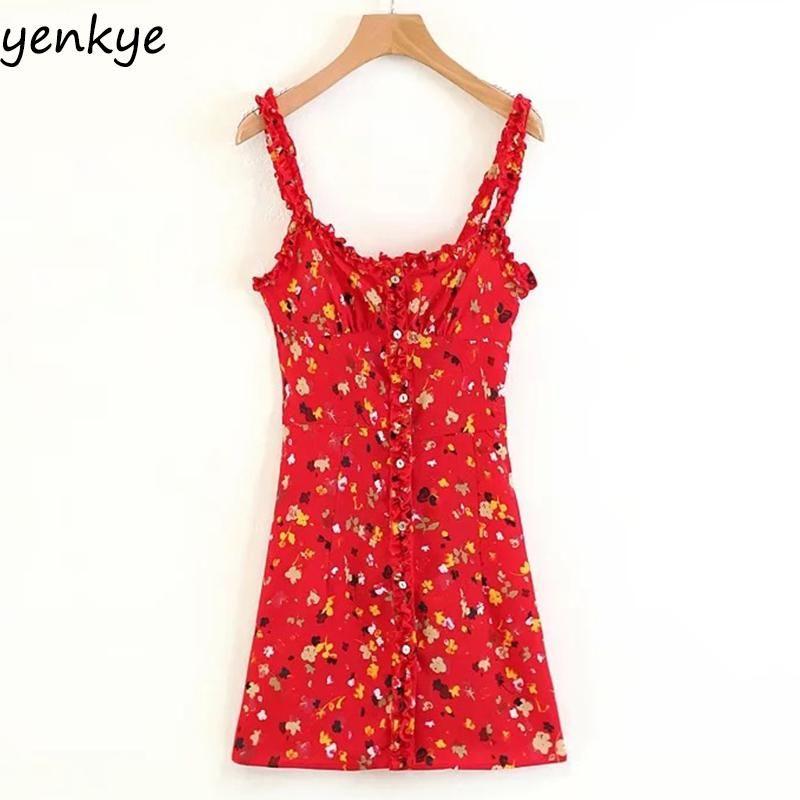 f913e0429fc Vintage Summer Dress 2018 Sweet Women Red Floral Printed Sling Dress Sexy  Sleeveless Mini Dress LJPZ8635