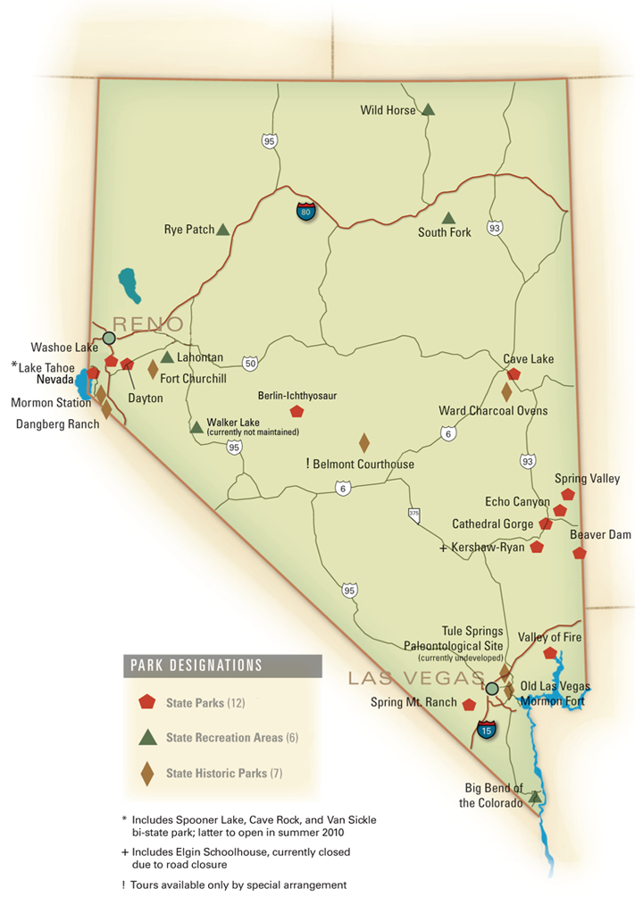 Nevada State Parks locator map. By Tony deRonnebeck | Nevada ...
