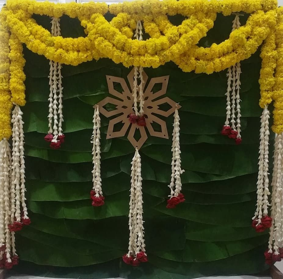 This Cute Backdrop For Puja Is So Simple Nd Elegant Pujadecor