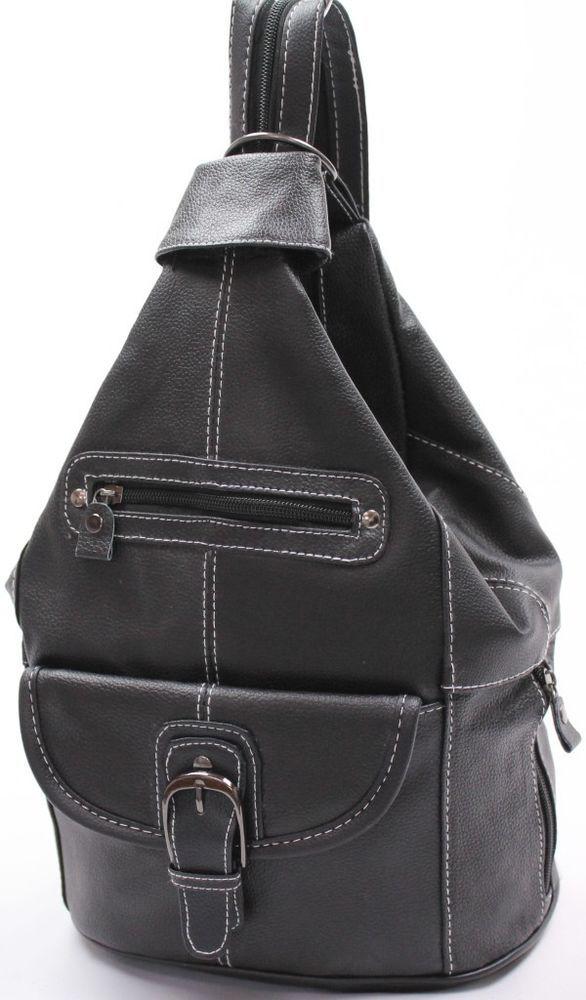BLACK COWHIDE LEATHER BACKPACK SHOULDER BAG TRAVEL ORGANIZER 2 WAY # 3611