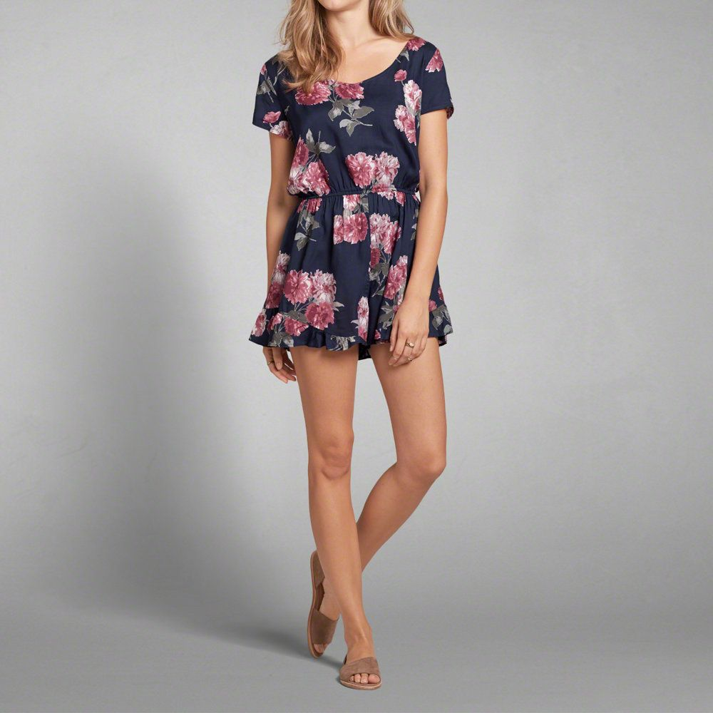 Abercrombie & Fitch Wrap Front Halter Cami Clearance Navy Print FGL