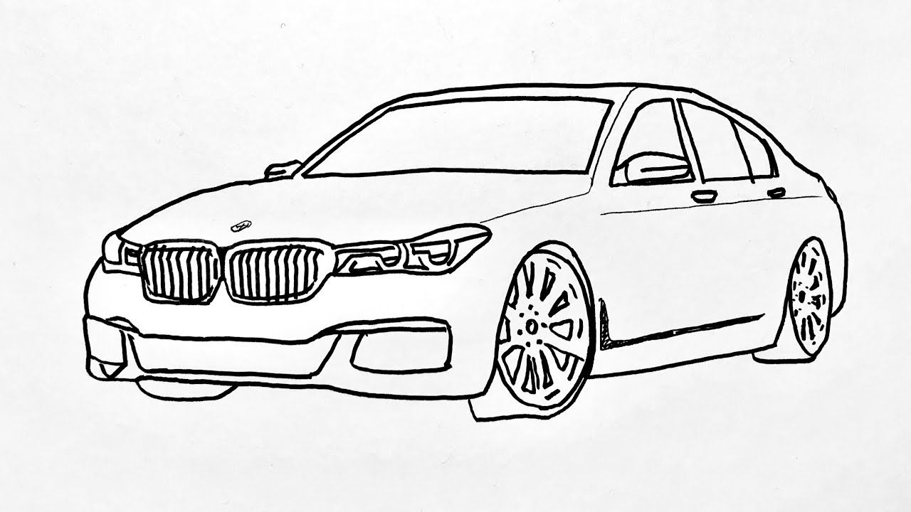 How To Draw Bmw Car Step By Step Araba Cizimi Bmw In 2020 Car Drawing Pencil Bmw Car Bmw