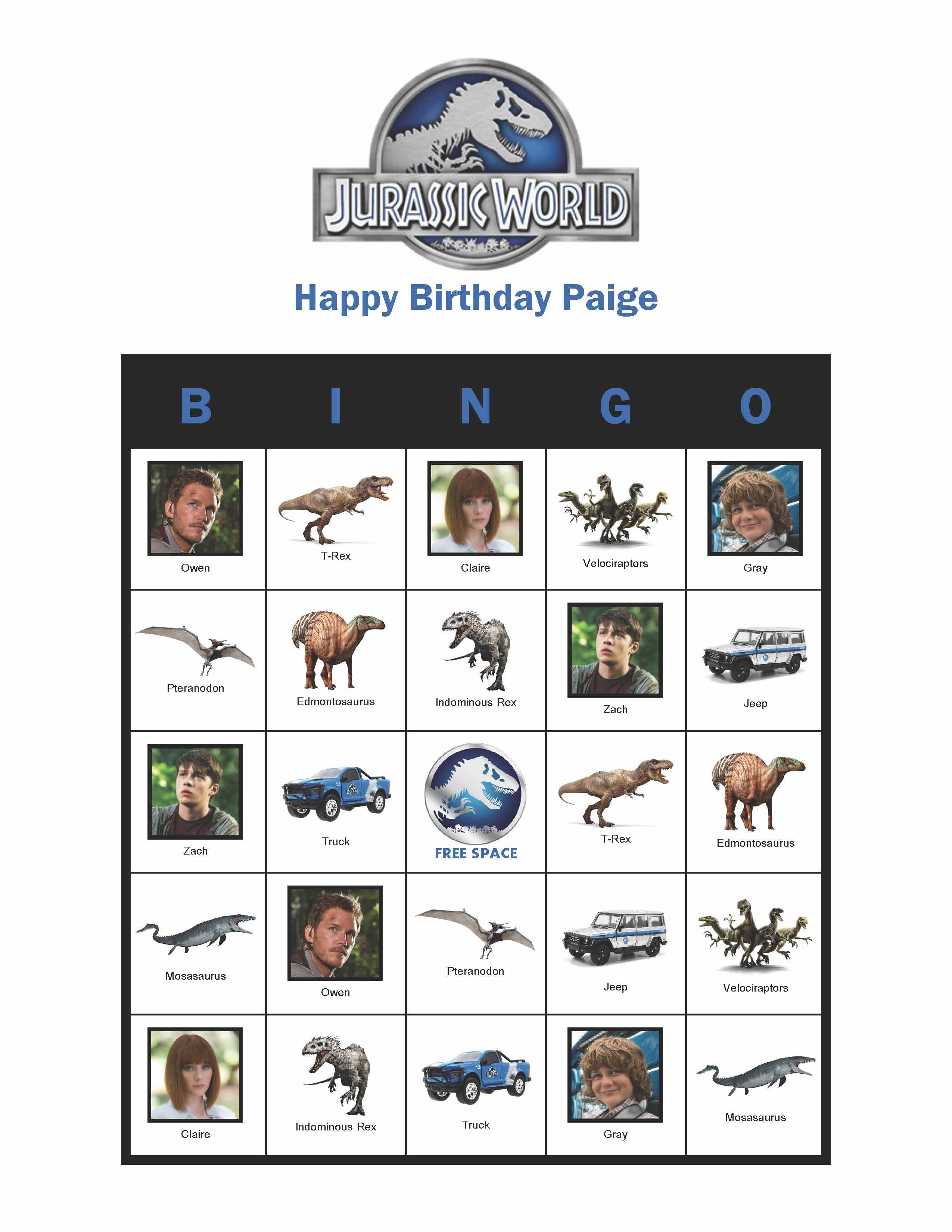 Jurassic World Personalized Birthday Bingo Cards Delivered By Email