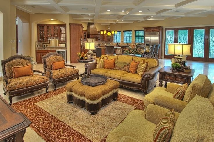 Tuscan style decorating mediterranean manor living - Tuscan inspired living room furniture ...