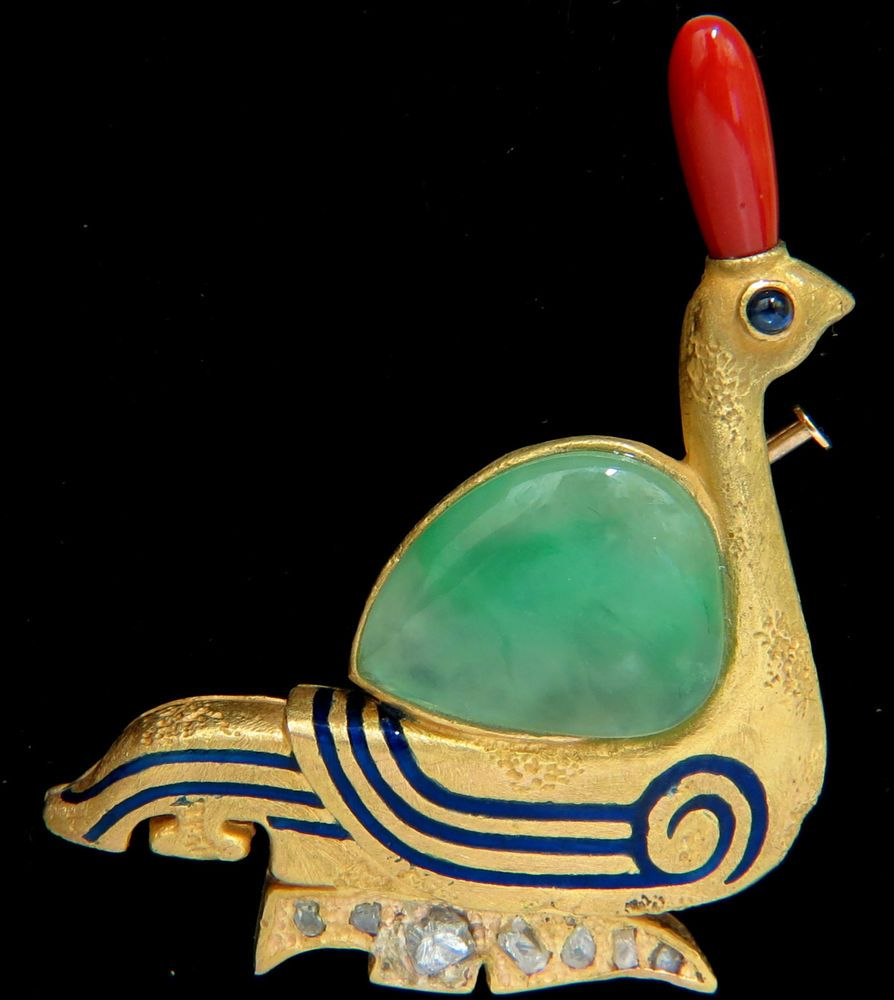 █ 22kt Ancient Egyptian Revival Jade Coral Diamond Swan Hieroglyphics Brooch Pin | eBay