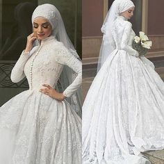 Muslim Wedding Dresses With Long Sleeves Lace beaded Ball Gown Bridal Gowns 2015 Free Shipping High Neck Arabic Vestidos De Novia
