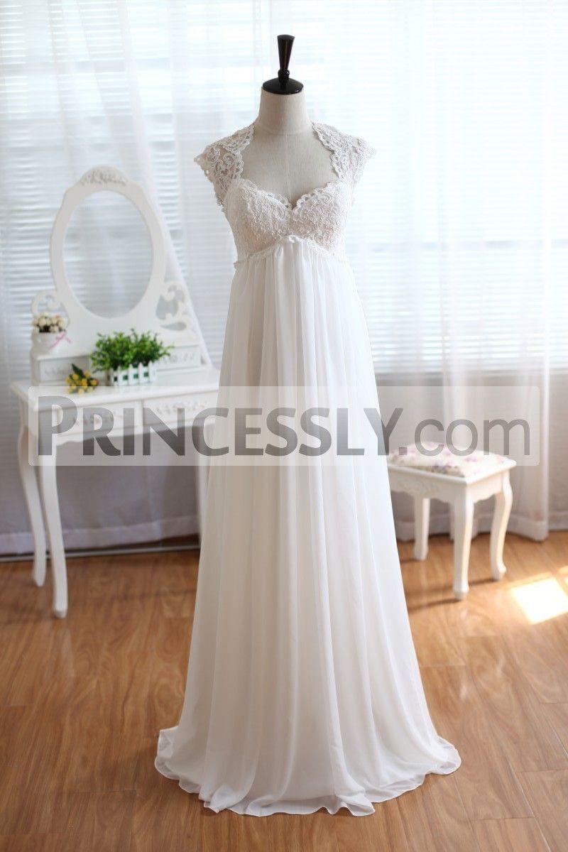 Chiffon wedding dress empire waist  Lace Chiffon Wedding Dress Keyhole Back Empire Waist Maternity Dress
