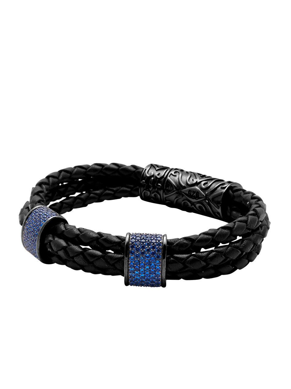 Leather With Black Ruthenium Plated Blue CZ Diamonds | Nialaya Jewelry
