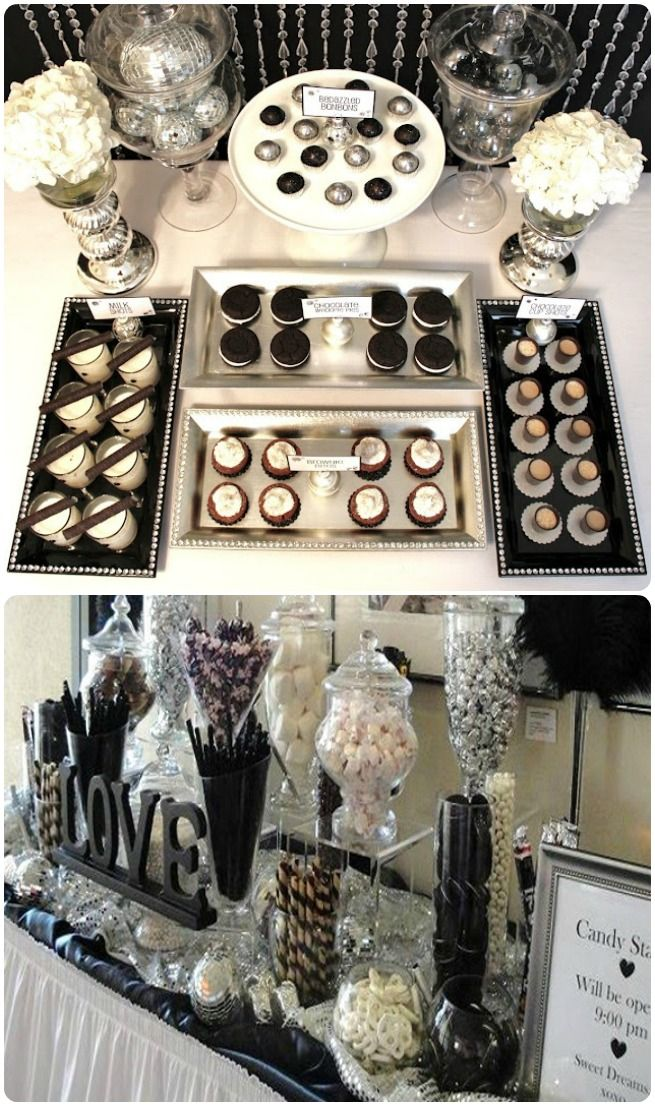 Black And White Wedding Dessert Table Black Themed Wedding