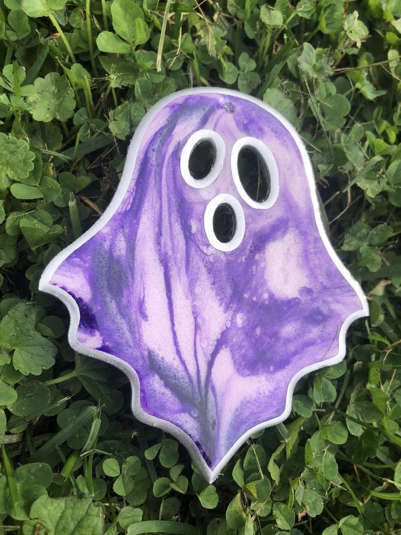 Halloween Special Spooky Ghost Black Purple Silver Epoxy Resin Etsy In 2021 Epoxy Resin Art Resin Art Resin Artwork