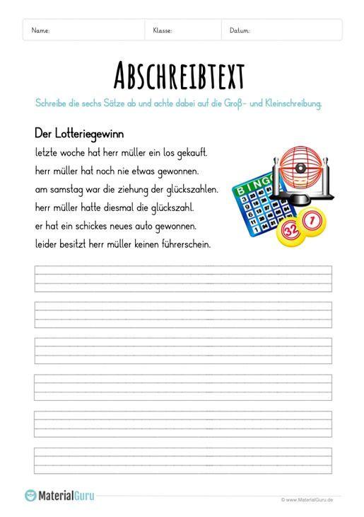 Worksheet Copy text The lottery win Abschreibtexte