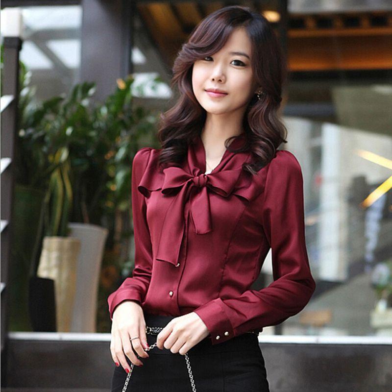 ad0b56b72f530 Women Shirt Spring Summer Varabow Design Formal Office Chiffon High Quality  Blouse High Elasticity Charm Blusa