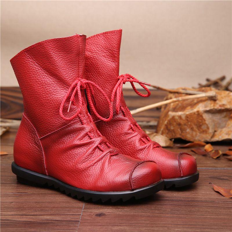 2017 Vintage Style Prawdziwej Skory Kobiet Buty Plaskie Botki Miekka Skora Bydleca Buty Damskie Z Przodu Leather Boots Women Womens Boots Genuine Leather Boots