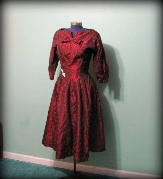 Vintage 60s Burgundy Red Womens Dress Mid Sleeve by offbeatvintage, $56.00