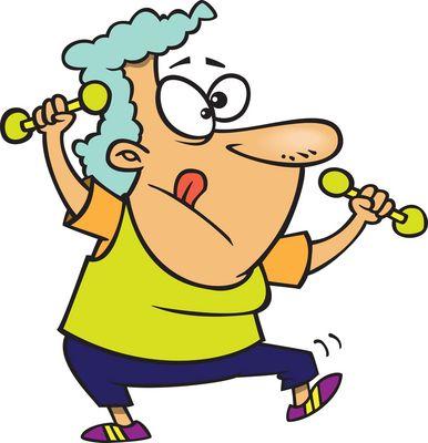 Cartoon Old Grandma Doing Crafts