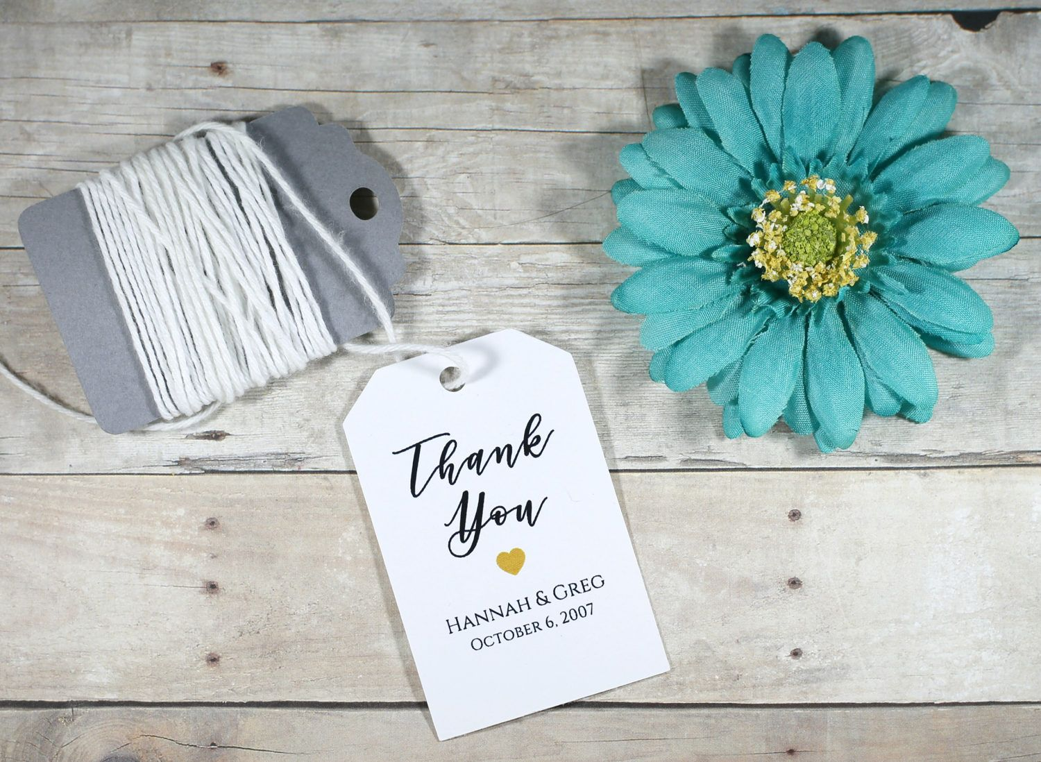 White Thank You Tags - Gold Heart Thank You Tags - Black Thank You ...