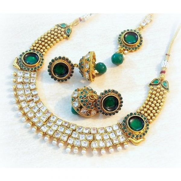 Buy Beautiful Ethnic Colored Stone Necklace Set Online at cheap prices from Shopkio.com: India`s best online shoping site