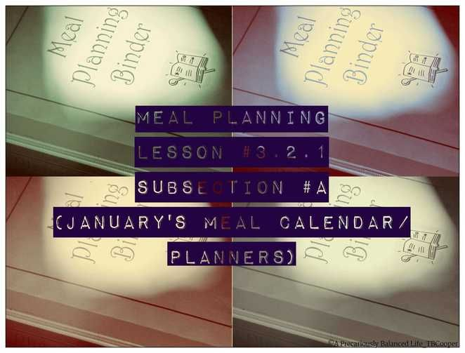 Free Meal Planning CourseLesson  Subsection A JanuaryS