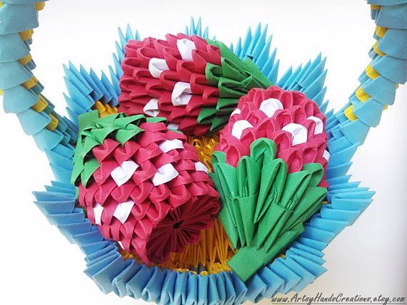 3d Origami Fruit Basket Strawberry