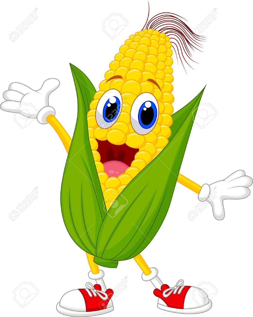 Personaje De Dibujos Animados Lindo Maiz Verduras Dibujo Ilustracion Bonita Dibujos Animados