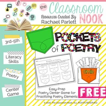 freebie pockets of poetry center game for poetry elements 4th grade poetry center. Black Bedroom Furniture Sets. Home Design Ideas