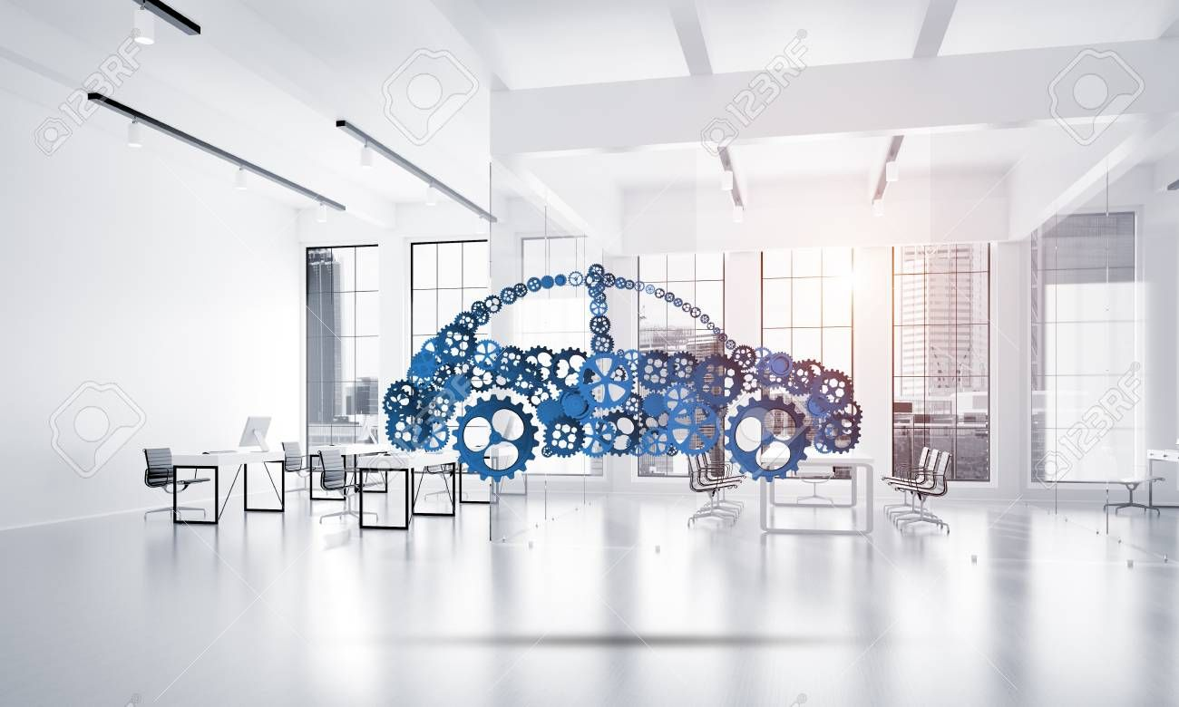 Car Icon Made Of Gears And Cogwheels On White Office Background