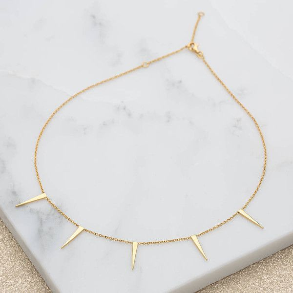 Scream Pretty Spiked Slider Clasp Choker ($35) ❤ liked on Polyvore featuring jewelry, necklaces, spike necklace, gold choker necklace, spiked choker necklace, gold jewellery and choker jewelry