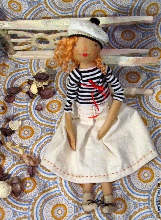 Купить Марина.Крики чаек - черно-белый, морячка, кукла, текстильная кукла, авторская кукла