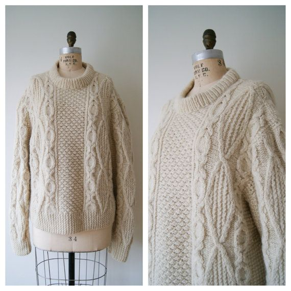 Fisherman's Sweater. Vintage Wool Sweater. Cream Cable Knit ...