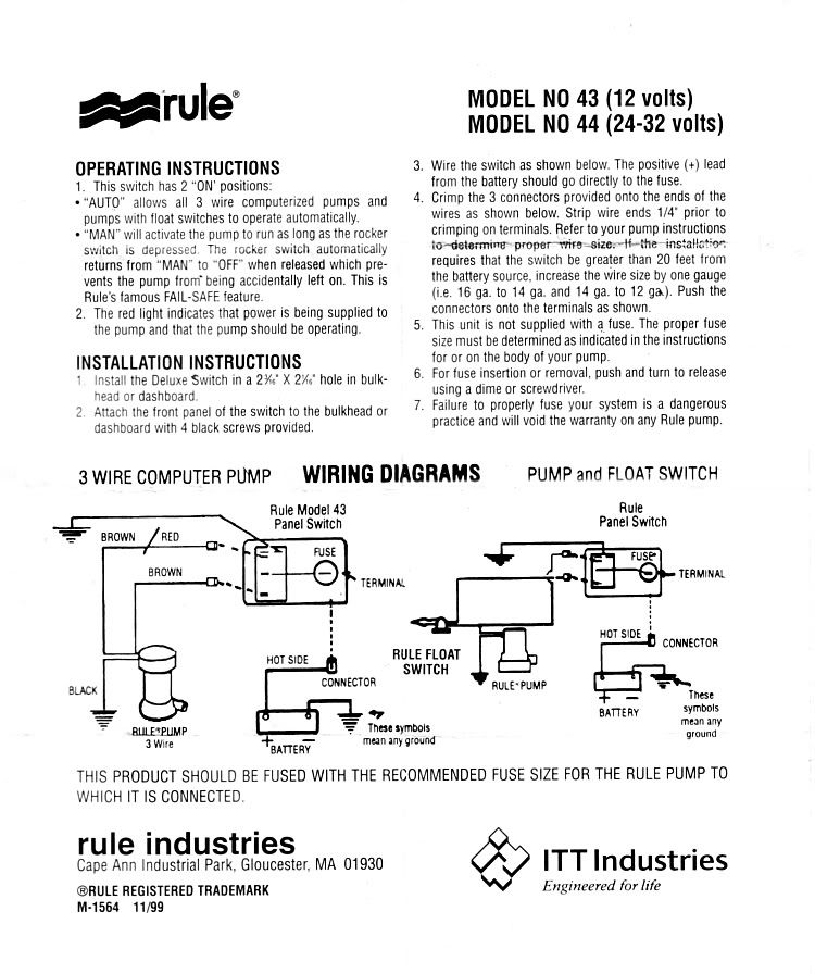 Rule Bilge Pump Switch Wiring Diagram | Boat electronics