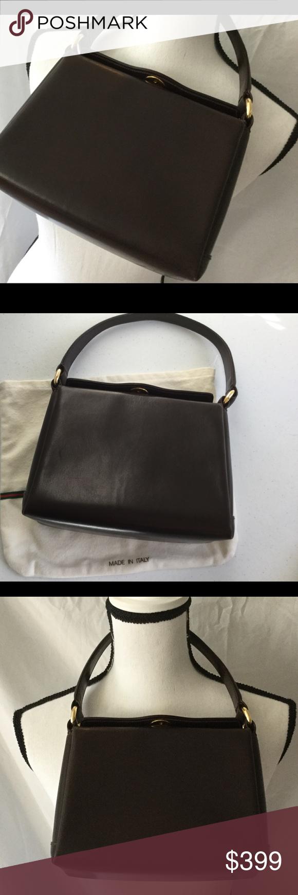 Gucci Vintage Brown Leather Pocket Book Gold One Gucci Vintage Bag Vintage Gucci Brown Leather Shoulder Bag
