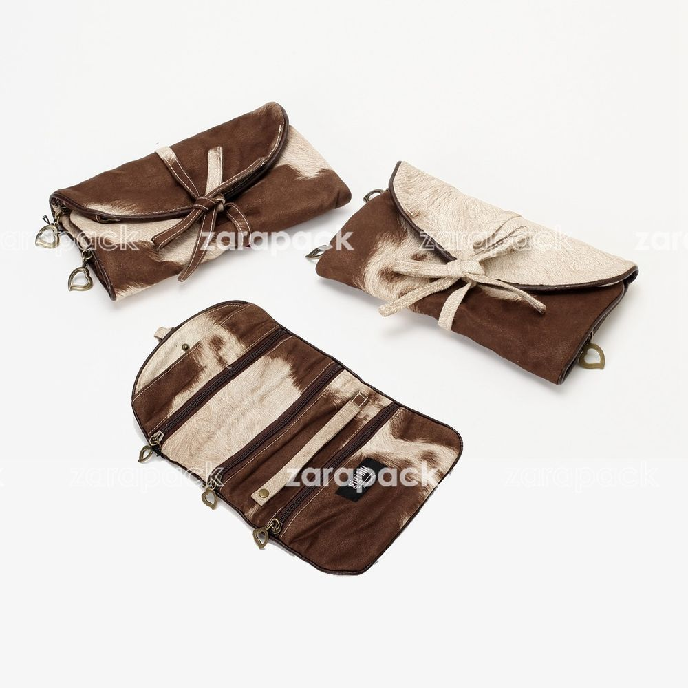 Luxury Jewelry Roll Holder Organizer Travel Bag Brown Carry Out
