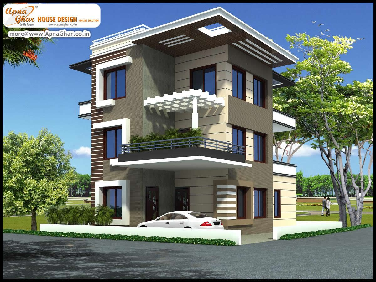 Front Elevation Of Triplex House : Bedroom modern triplex floor house design area