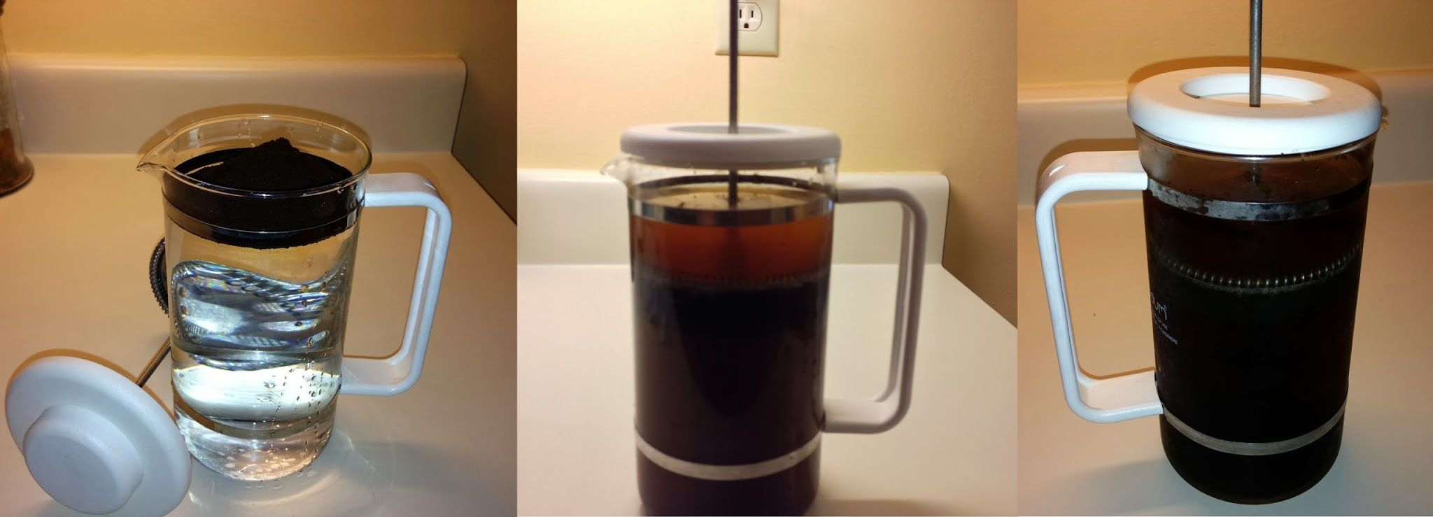 1) Using cold, filtered water, fill French Press. 2) Add 1