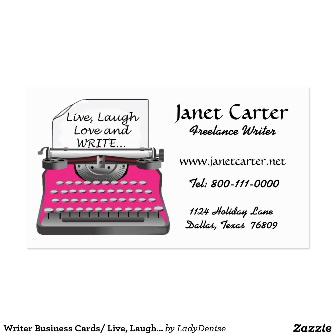 Writer Business Cards/ Live, Laugh, Love & Write! Business Card ...