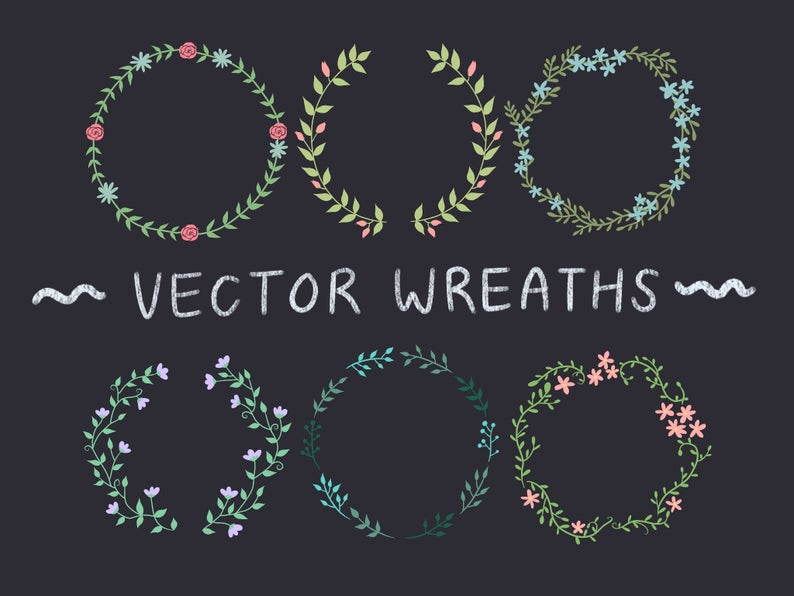 Photo of 50% SALE! 28 Floral Wreaths, hand-drawn wreaths, doodle clipart, drawn wreaths, png, svg, vector wreaths, cute wreaths, wreath, flower frame