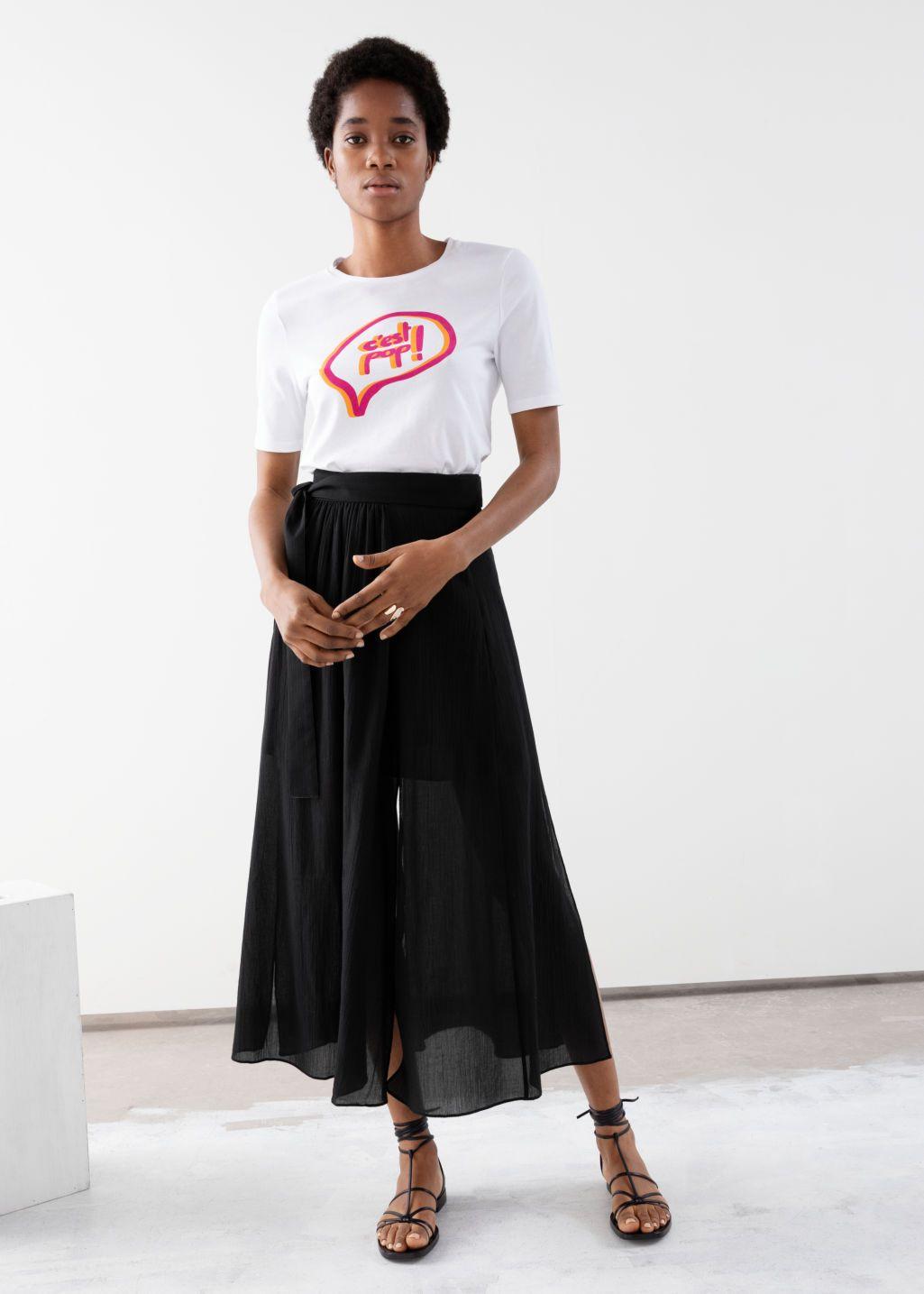 7d1d51ef640ea9 Belted Midi Side Slit Skirt - Black - Maxi skirts - & Other Stories ...