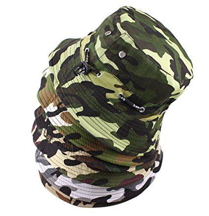 Amazon.com  Natuworld Cotton Bucket Hats Camouflage Round Brim Boonie Bush  Safari Fishing Hat Cap Summer for Unisex Men Women - 7 Color Available   Health ... e23f679b4cc