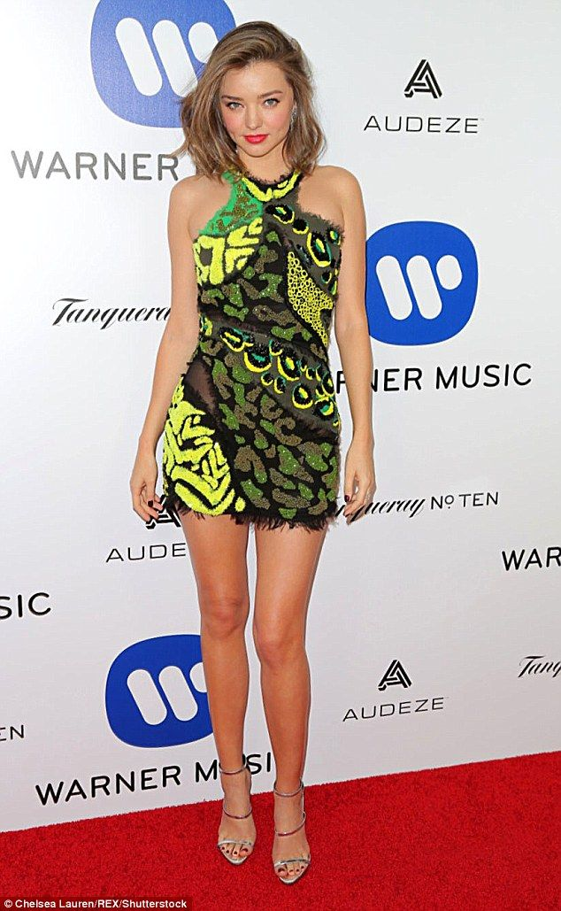 Miranda Kerr Is Very Leggy In Super Short Dress At Grammys After Party Super Short Dress Miranda Kerr Short Shift Dress