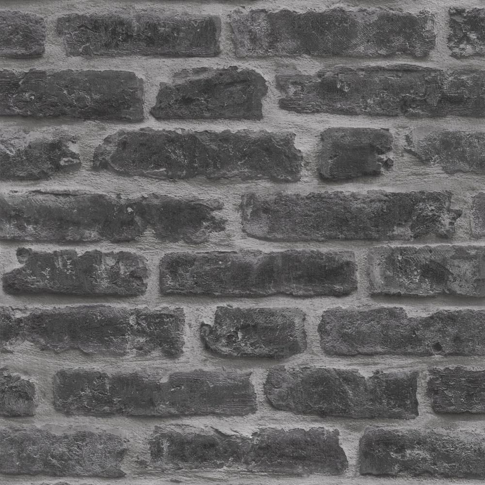 Graham Brown Industry Black Vinyl Strippable Roll Covers 56 Sq Ft 7668 The Home Depot Textured Brick Wallpaper Black And Grey Wallpaper Brick Wallpaper