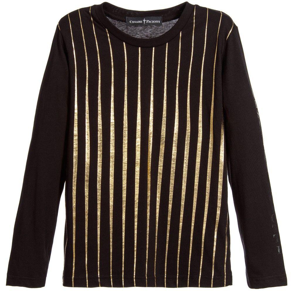 Cesare Paciotti Boys Black & Gold Stripe Cotton Jersey Top
